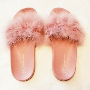 INC marabou feathers slide slippers PINK 11-12